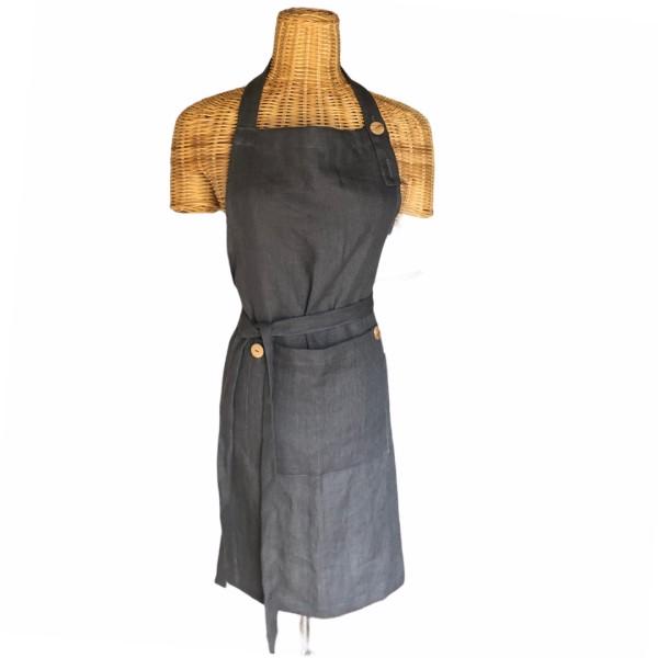 Bæredygtigt hørforklæde fra ecoinvent. carbon grey 100% hør med træknapper